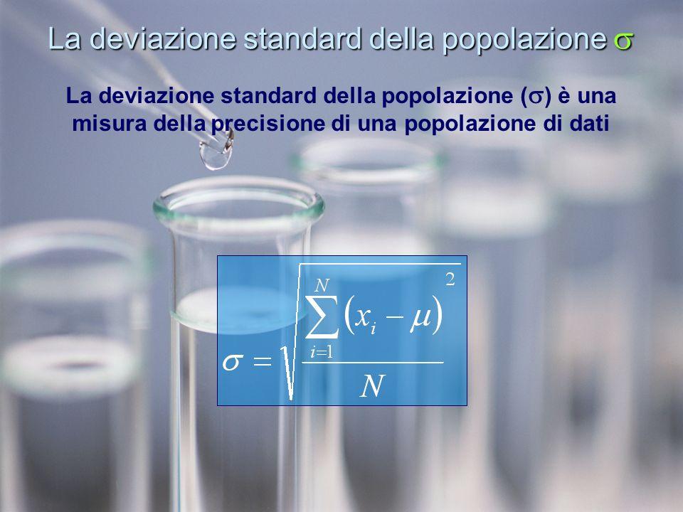 La deviazione standard della popolazione La deviazione standard della popolazione La deviazione standard della popolazione ( ) è una misura della precisione di una popolazione di dati