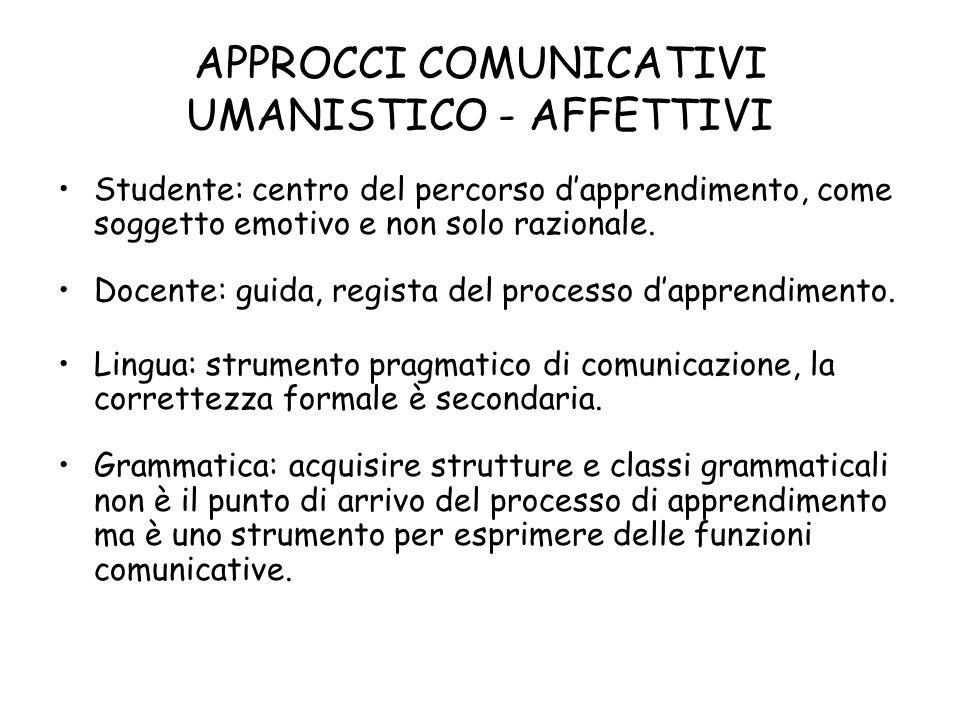 APPROCCI COMUNICATIVI UMANISTICO - AFFETTIVI Studente: centro del percorso dapprendimento, come soggetto emotivo e non solo razionale.
