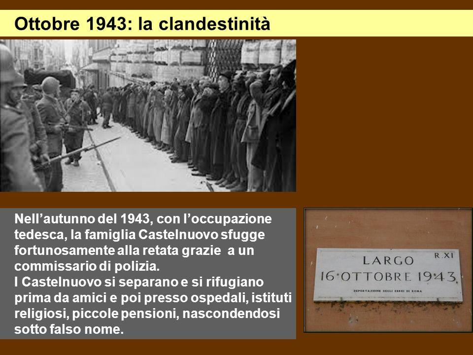 Nellautunno del 1943, con loccupazione tedesca, la famiglia Castelnuovo sfugge fortunosamente alla retata grazie a un commissario di polizia. I Castel