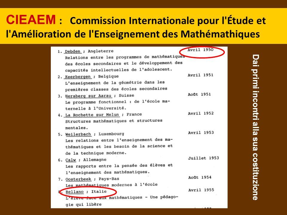 CIEAEM : Commission Internationale pour l'Étude et l'Amélioration de l'Enseignement des Mathémathiques Dai primi incontri alla sua costituzione
