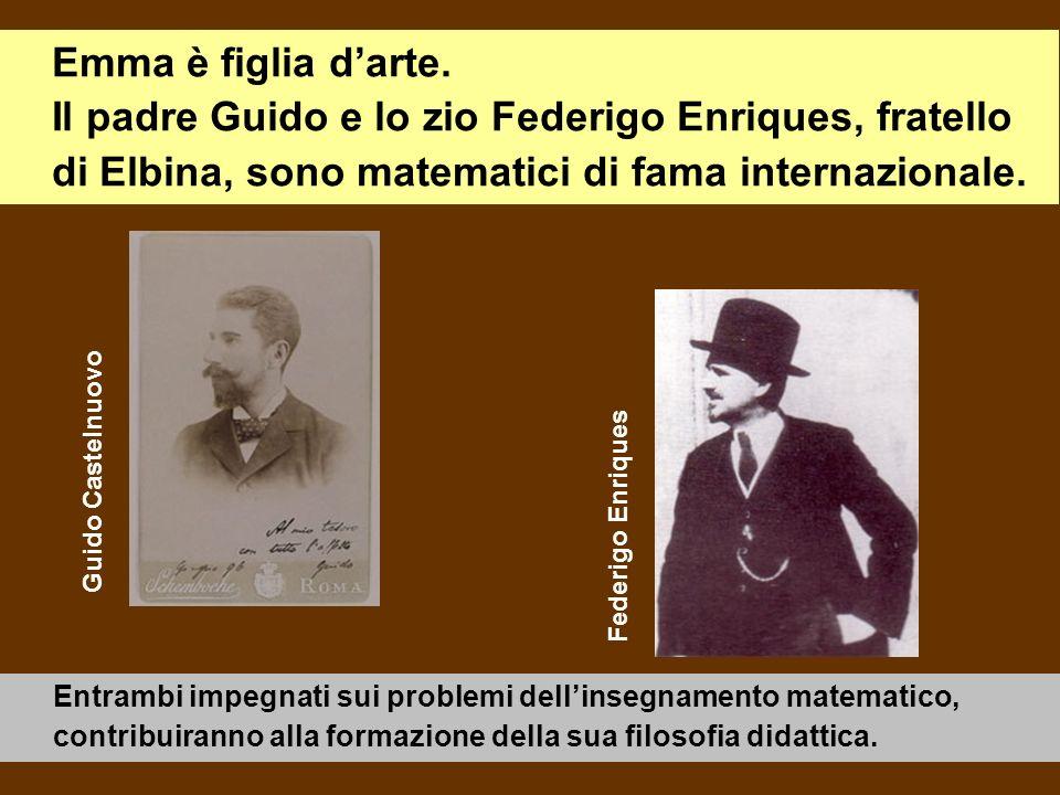 Emma è figlia darte. Il padre Guido e lo zio Federigo Enriques, fratello di Elbina, sono matematici di fama internazionale. Entrambi impegnati sui pro