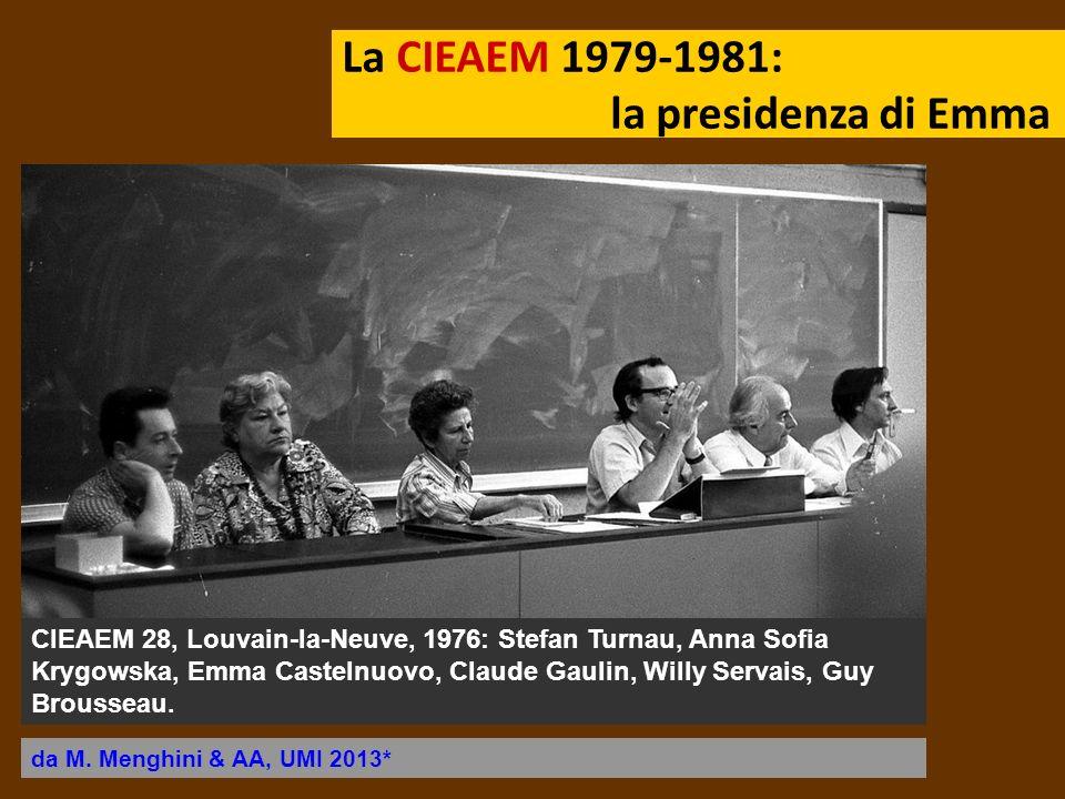 La CIEAEM 1979-1981: la presidenza di Emma CIEAEM 28, Louvain-la-Neuve, 1976: Stefan Turnau, Anna Sofia Krygowska, Emma Castelnuovo, Claude Gaulin, Wi