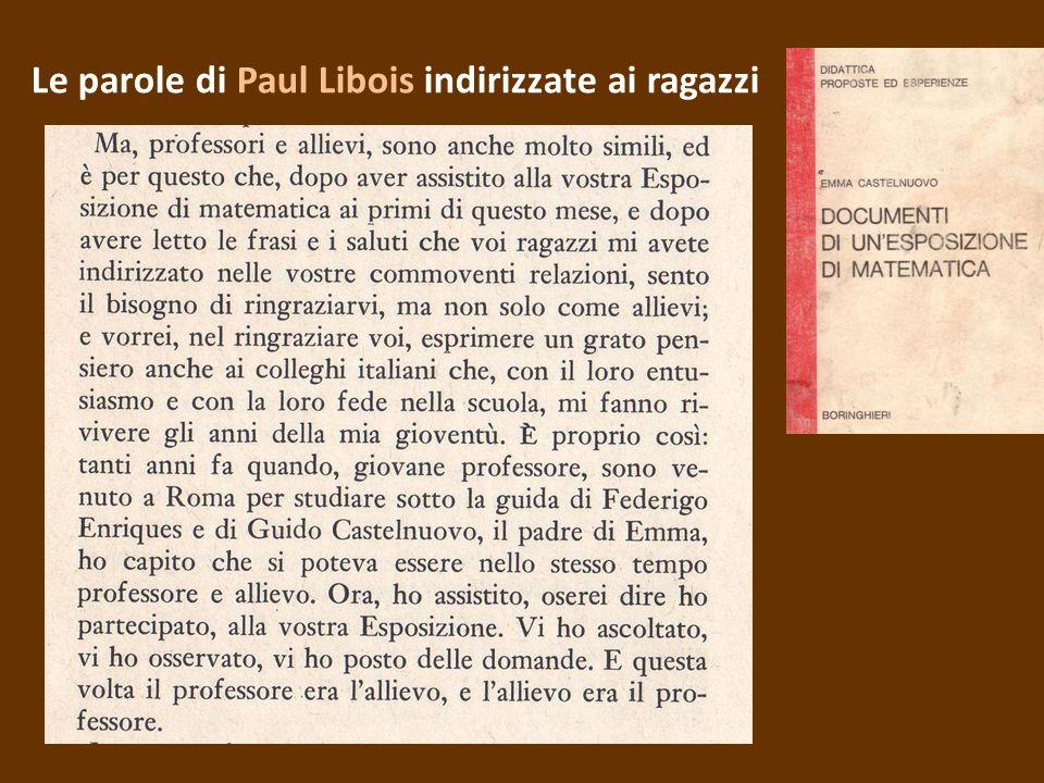 Le parole di Paul Libois indirizzate ai ragazzi