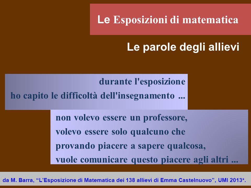 da M. Barra, L'Esposizione di Matematica dei 138 allievi di Emma Castelnuovo, UMI 2013*. durante l'esposizione ho capito le difficoltà dell'insegnamen