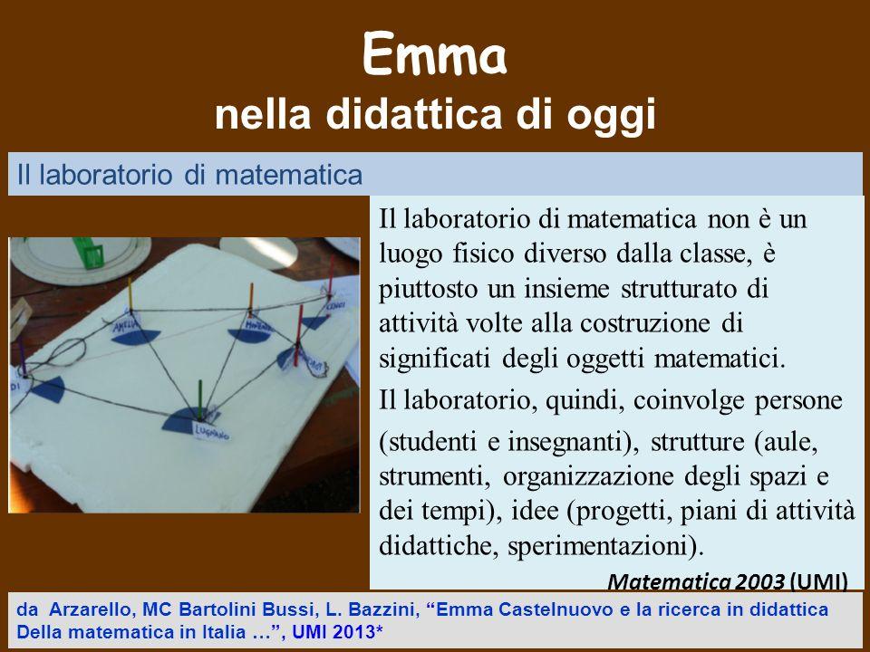 Emma nella didattica di oggi Il laboratorio di matematica non è un luogo fisico diverso dalla classe, è piuttosto un insieme strutturato di attività v
