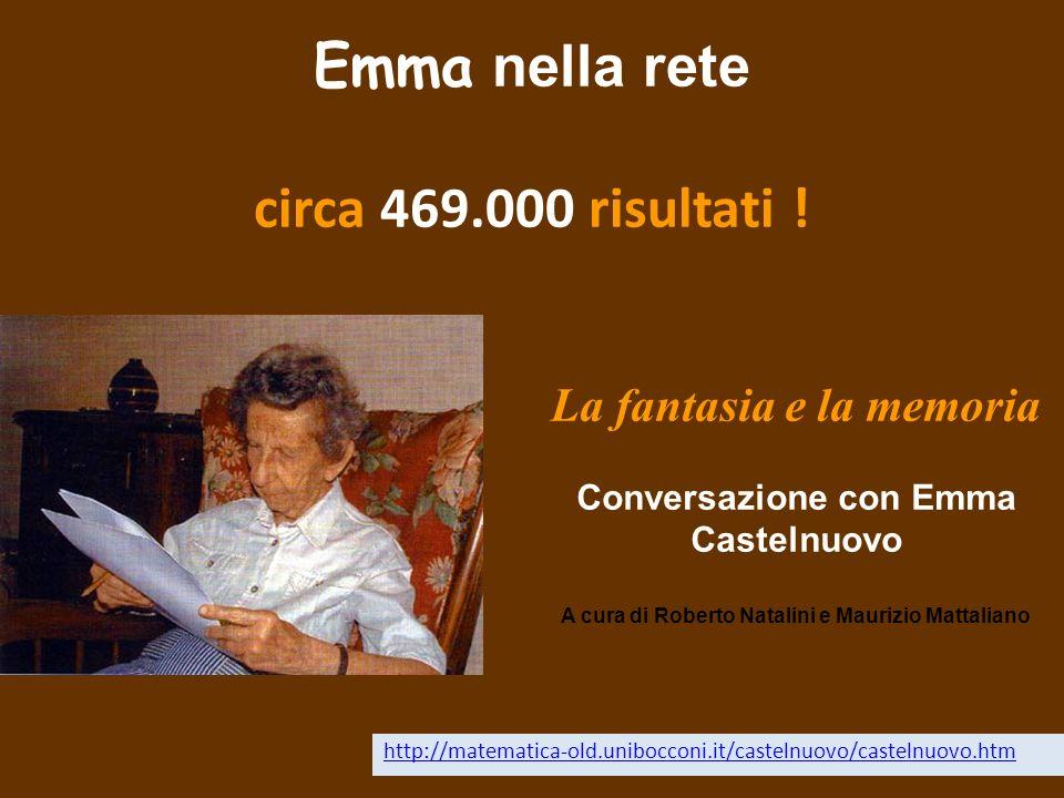 Emma nella rete circa 469.000 risultati ! http://matematica-old.unibocconi.it/castelnuovo/castelnuovo.htm La fantasia e la memoria Conversazione con E