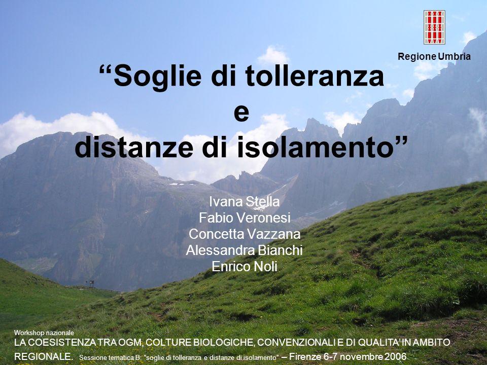 Regione Umbria Soglie di tolleranza e distanze di isolamento Ivana Stella Fabio Veronesi Concetta Vazzana Alessandra Bianchi Enrico Noli Workshop nazi