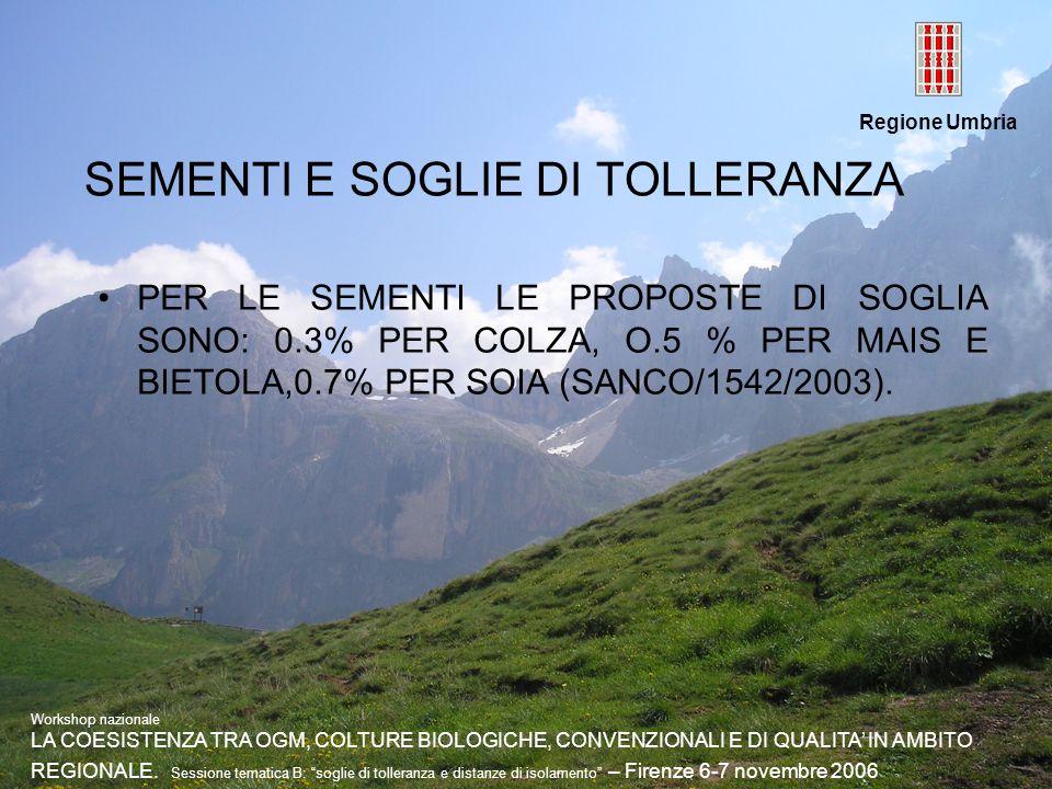 Regione Umbria SEMENTI E SOGLIE DI TOLLERANZA PER LE SEMENTI LE PROPOSTE DI SOGLIA SONO: 0.3% PER COLZA, O.5 % PER MAIS E BIETOLA,0.7% PER SOIA (SANCO