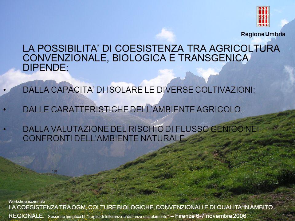 Regione Umbria LA POSSIBILITA DI COESISTENZA TRA AGRICOLTURA CONVENZIONALE, BIOLOGICA E TRANSGENICA DIPENDE: DALLA CAPACITA DI ISOLARE LE DIVERSE COLT