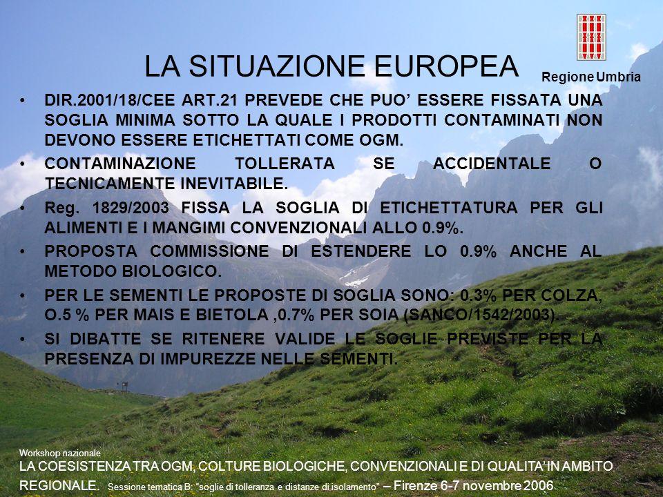 Regione Umbria LA SITUAZIONE EUROPEA DIR.2001/18/CEE ART.21 PREVEDE CHE PUO ESSERE FISSATA UNA SOGLIA MINIMA SOTTO LA QUALE I PRODOTTI CONTAMINATI NON