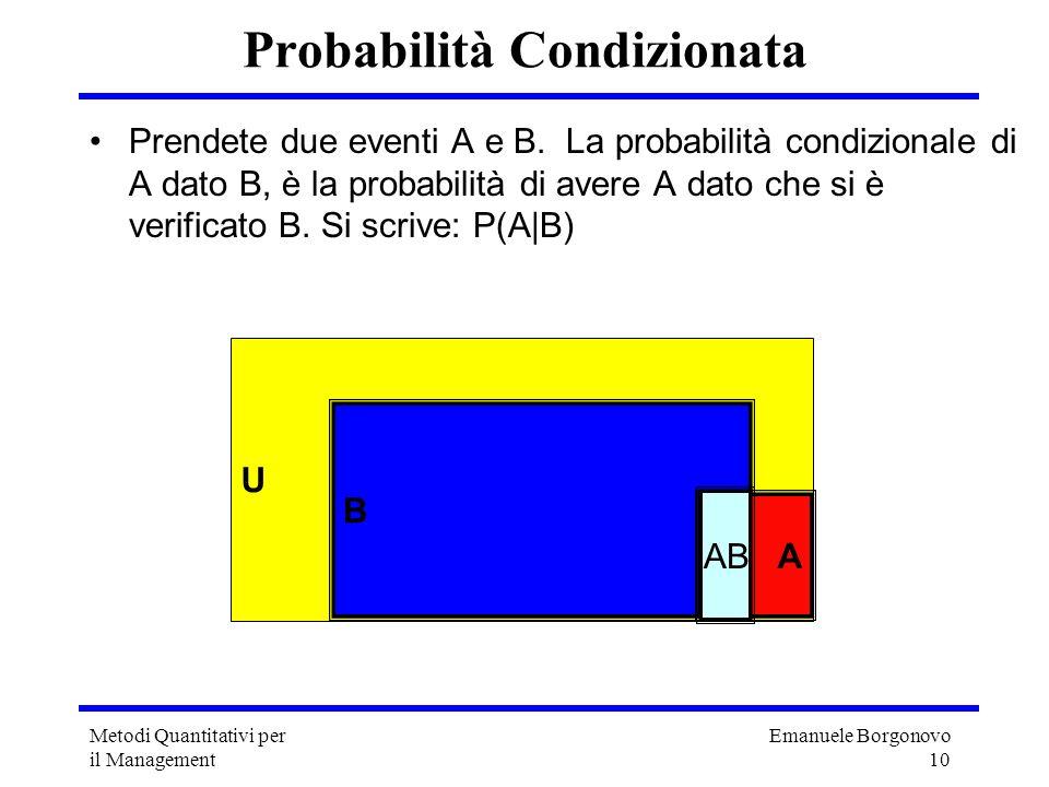 Emanuele Borgonovo 10 Metodi Quantitativi per il Management Probabilità Condizionata Prendete due eventi A e B. La probabilità condizionale di A dato