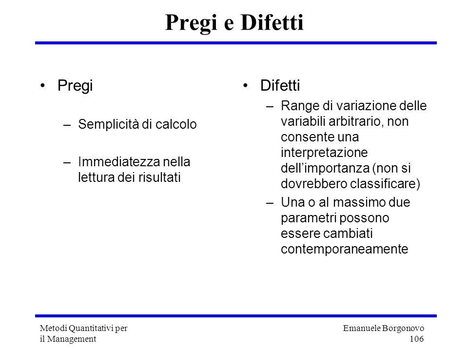 Emanuele Borgonovo 106 Metodi Quantitativi per il Management Pregi e Difetti Pregi –Semplicità di calcolo –Immediatezza nella lettura dei risultati Di