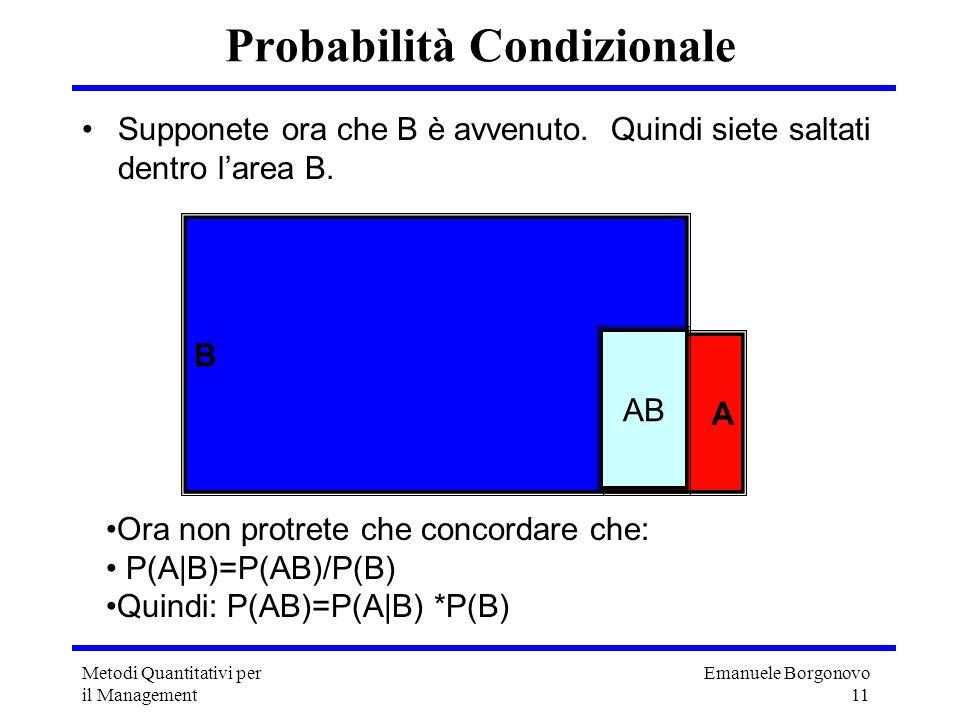 Emanuele Borgonovo 11 Metodi Quantitativi per il Management Probabilità Condizionale Supponete ora che B è avvenuto. Quindi siete saltati dentro larea