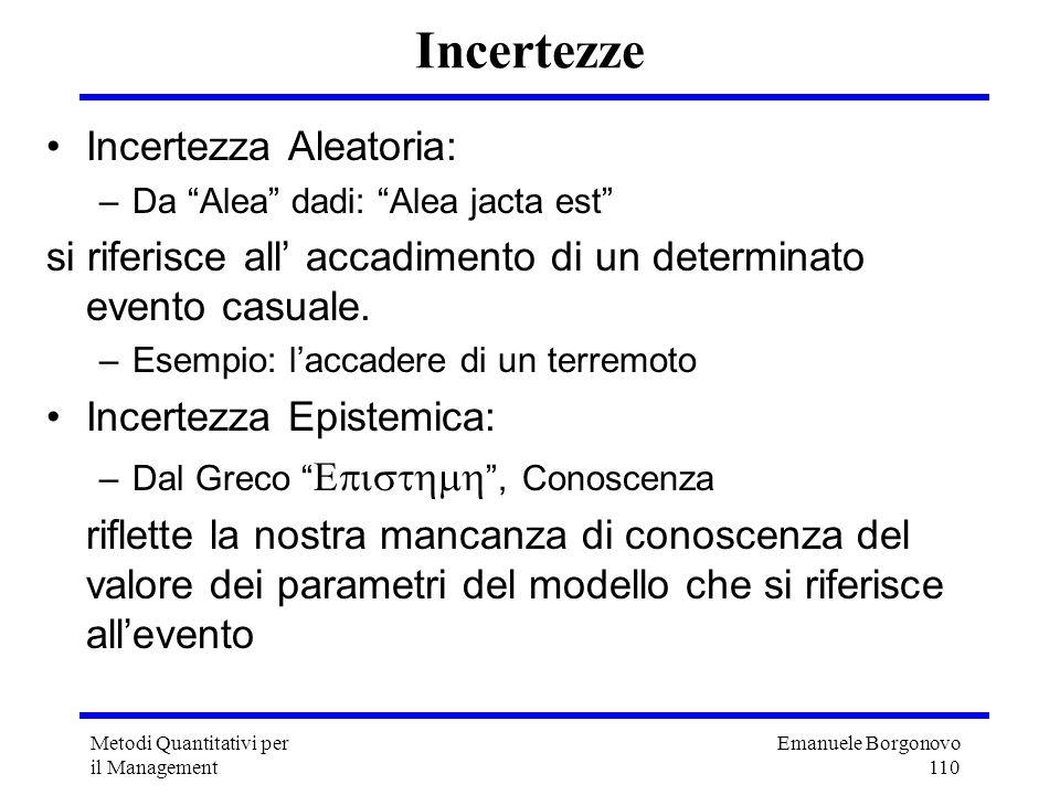 Emanuele Borgonovo 110 Metodi Quantitativi per il Management Incertezze Incertezza Aleatoria: –Da Alea dadi: Alea jacta est si riferisce all accadimen