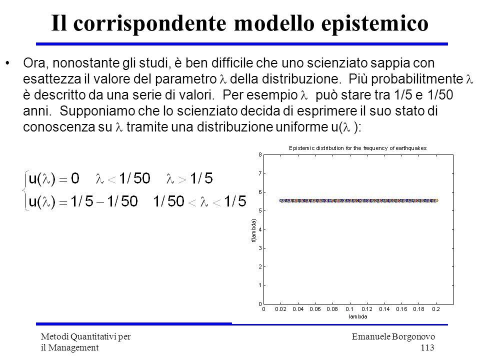 Emanuele Borgonovo 113 Metodi Quantitativi per il Management Il corrispondente modello epistemico Ora, nonostante gli studi, è ben difficile che uno s