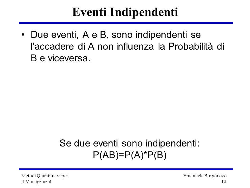 Emanuele Borgonovo 12 Metodi Quantitativi per il Management Eventi Indipendenti Due eventi, A e B, sono indipendenti se laccadere di A non influenza l