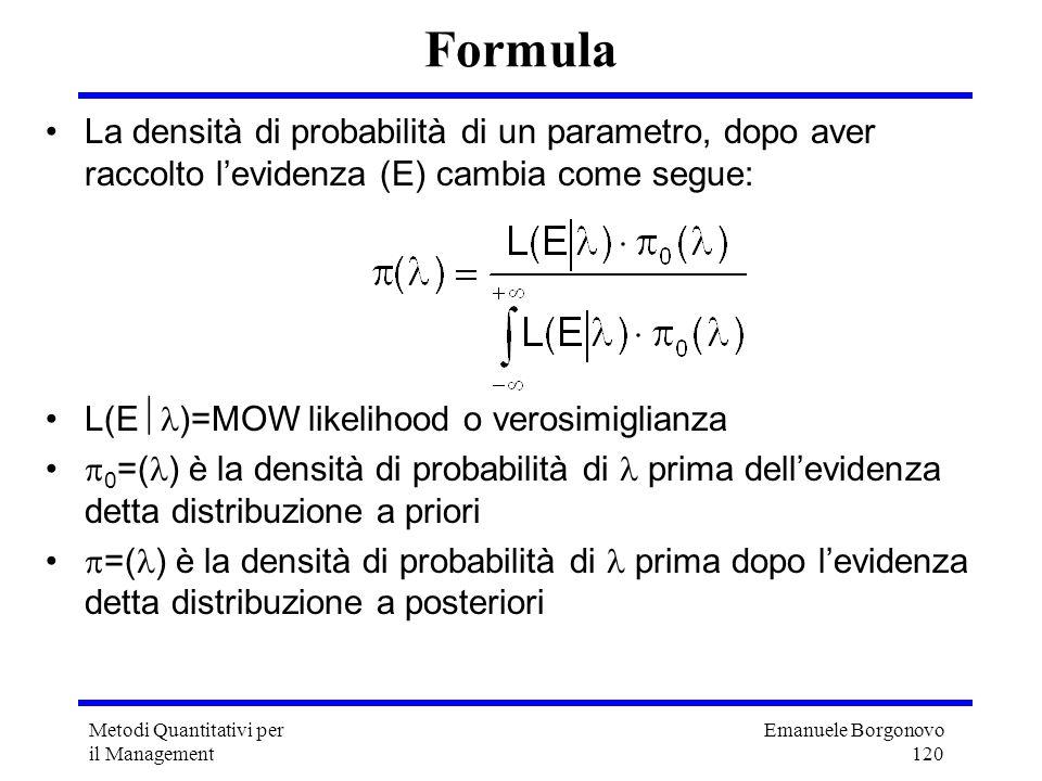 Emanuele Borgonovo 120 Metodi Quantitativi per il Management Formula La densità di probabilità di un parametro, dopo aver raccolto levidenza (E) cambi