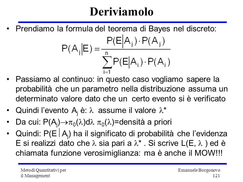 Emanuele Borgonovo 121 Metodi Quantitativi per il Management Deriviamolo Prendiamo la formula del teorema di Bayes nel discreto: Passiamo al continuo: