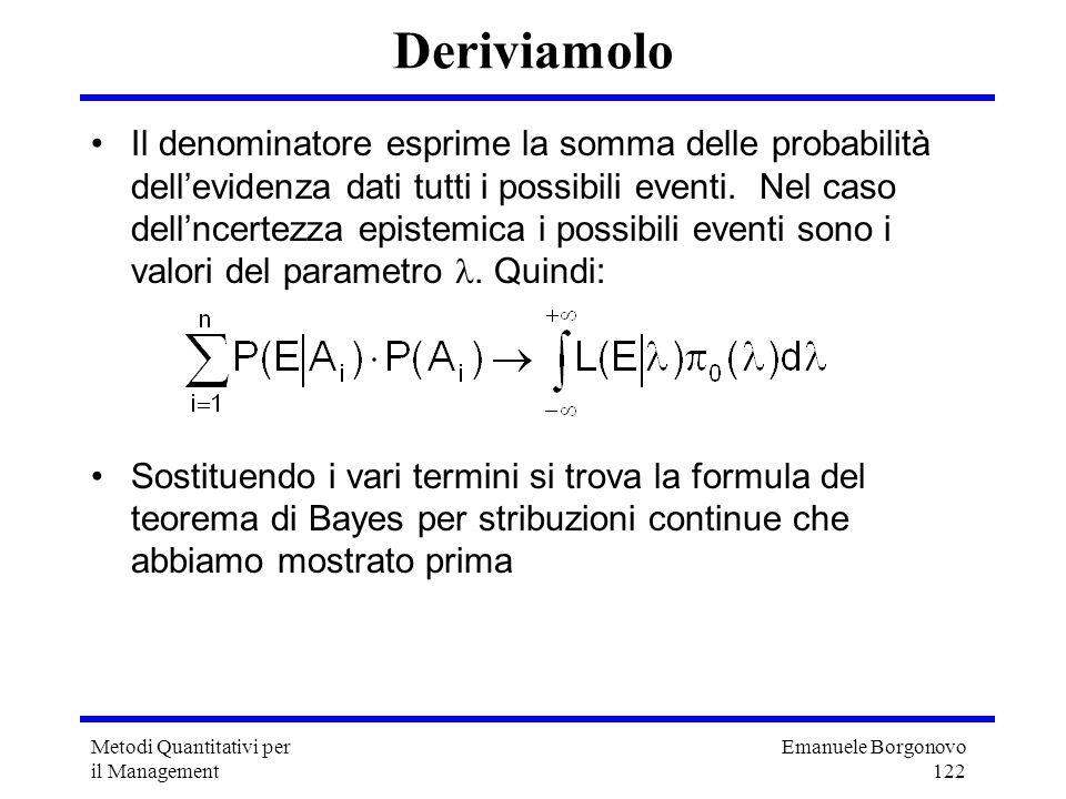 Emanuele Borgonovo 122 Metodi Quantitativi per il Management Deriviamolo Il denominatore esprime la somma delle probabilità dellevidenza dati tutti i