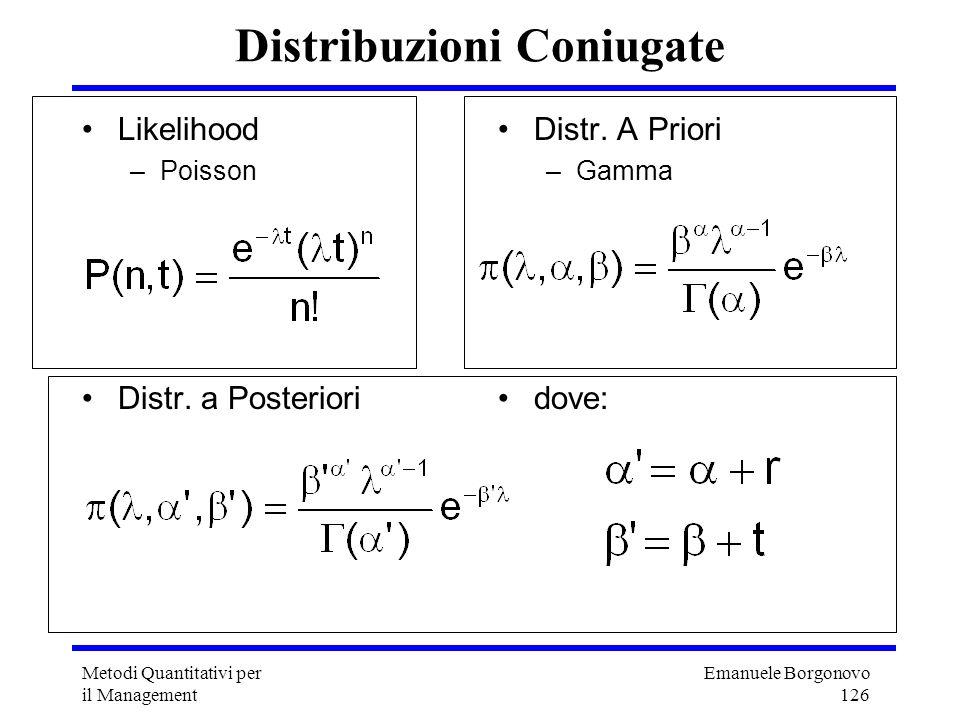 Emanuele Borgonovo 126 Metodi Quantitativi per il Management Distribuzioni Coniugate Likelihood –Poisson Distr. a Posteriori Distr. A Priori –Gamma do