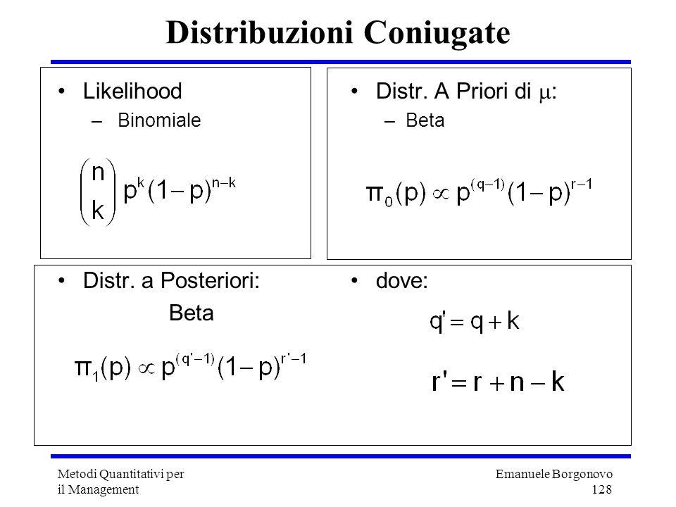 Emanuele Borgonovo 128 Metodi Quantitativi per il Management Distribuzioni Coniugate Likelihood – Binomiale Distr. a Posteriori: Beta Distr. A Priori