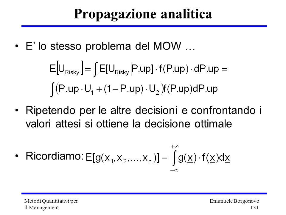 Emanuele Borgonovo 131 Metodi Quantitativi per il Management Propagazione analitica E lo stesso problema del MOW … Ripetendo per le altre decisioni e