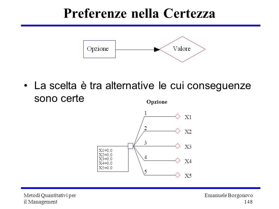Emanuele Borgonovo 148 Metodi Quantitativi per il Management 1 Opzione X1 2 X2 3 X3 4 X4 5 X5 X1=0.0 X2=0.0 X3=0.0 X4=0.0 X5=0.0 Preferenze nella Cert
