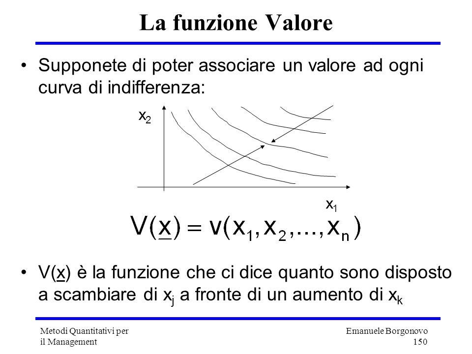Emanuele Borgonovo 150 Metodi Quantitativi per il Management La funzione Valore Supponete di poter associare un valore ad ogni curva di indifferenza: