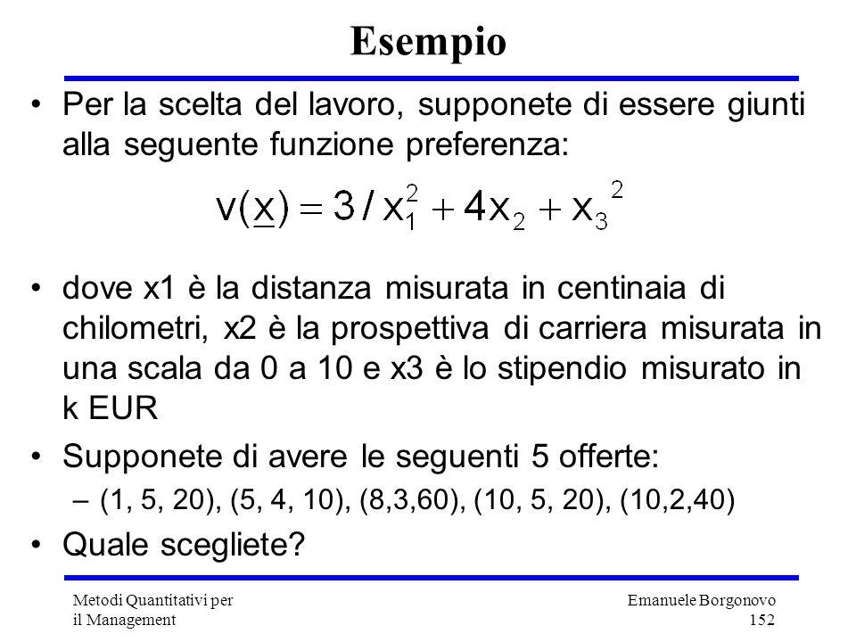 Emanuele Borgonovo 152 Metodi Quantitativi per il Management Esempio Per la scelta del lavoro, supponete di essere giunti alla seguente funzione prefe
