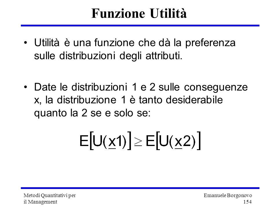 Emanuele Borgonovo 154 Metodi Quantitativi per il Management Funzione Utilità Utilità è una funzione che dà la preferenza sulle distribuzioni degli at