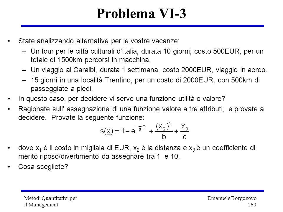 Emanuele Borgonovo 169 Metodi Quantitativi per il Management Problema VI-3 State analizzando alternative per le vostre vacanze: –Un tour per le città