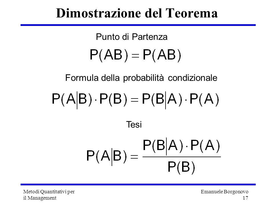 Emanuele Borgonovo 17 Metodi Quantitativi per il Management Dimostrazione del Teorema Punto di Partenza Formula della probabilità condizionale Tesi