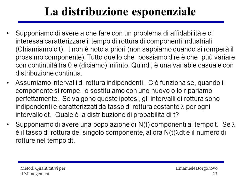 Emanuele Borgonovo 23 Metodi Quantitativi per il Management La distribuzione esponenziale Supponiamo di avere a che fare con un problema di affidabili