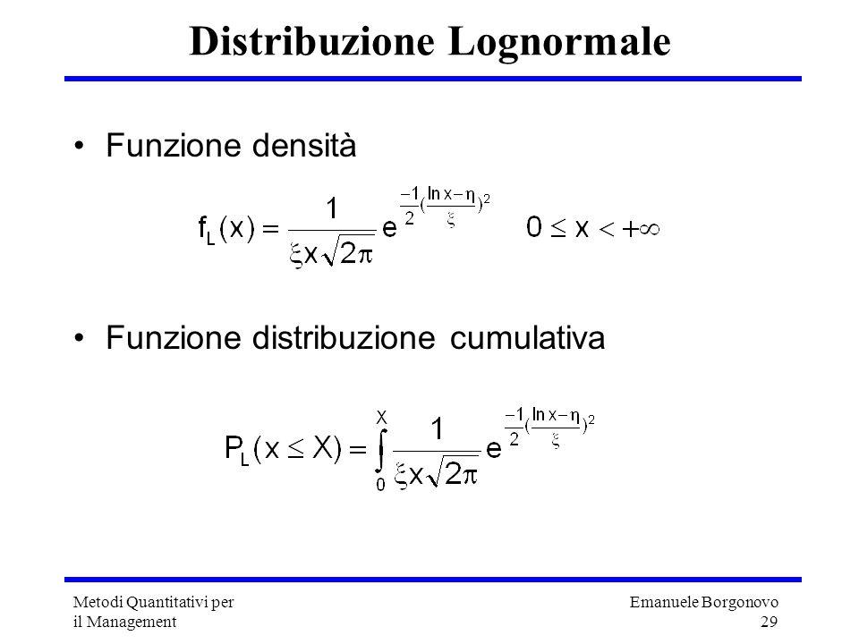 Emanuele Borgonovo 29 Metodi Quantitativi per il Management Distribuzione Lognormale Funzione densità Funzione distribuzione cumulativa