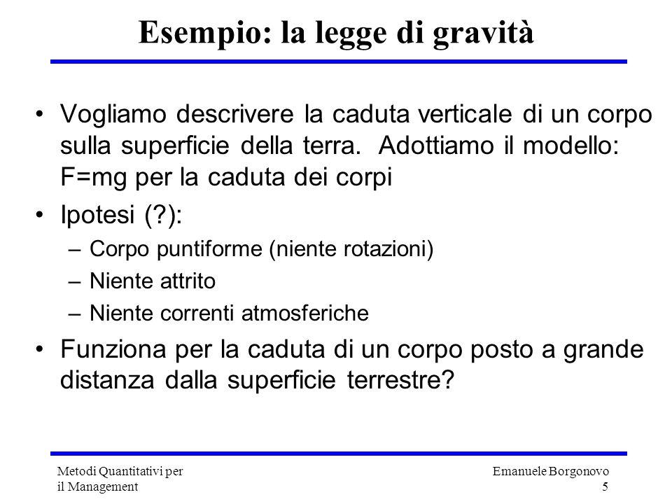 Emanuele Borgonovo 5 Metodi Quantitativi per il Management Esempio: la legge di gravità Vogliamo descrivere la caduta verticale di un corpo sulla supe
