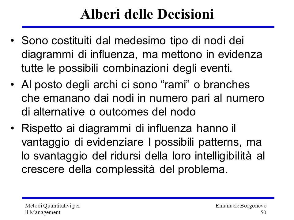 Emanuele Borgonovo 50 Metodi Quantitativi per il Management Alberi delle Decisioni Sono costituiti dal medesimo tipo di nodi dei diagrammi di influenz