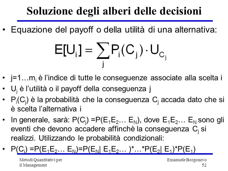 Emanuele Borgonovo 52 Metodi Quantitativi per il Management Soluzione degli alberi delle decisioni Equazione del payoff o della utilità di una alterna
