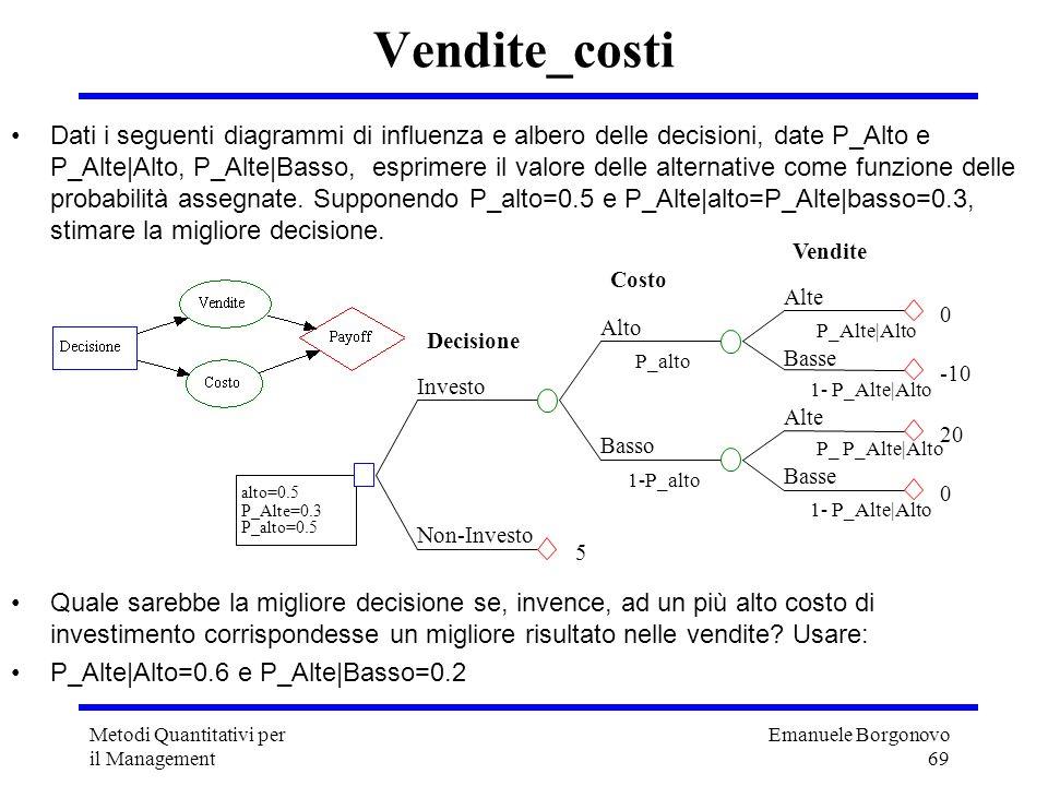 Emanuele Borgonovo 69 Metodi Quantitativi per il Management Dati i seguenti diagrammi di influenza e albero delle decisioni, date P_Alto e P_Alte|Alto