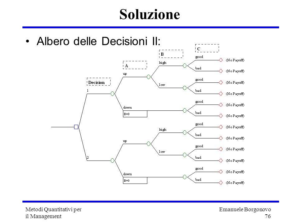 Emanuele Borgonovo 76 Metodi Quantitativi per il Management Soluzione Albero delle Decisioni II: