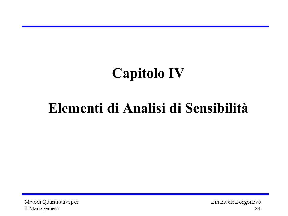 Emanuele Borgonovo 84 Metodi Quantitativi per il Management Capitolo IV Elementi di Analisi di Sensibilità