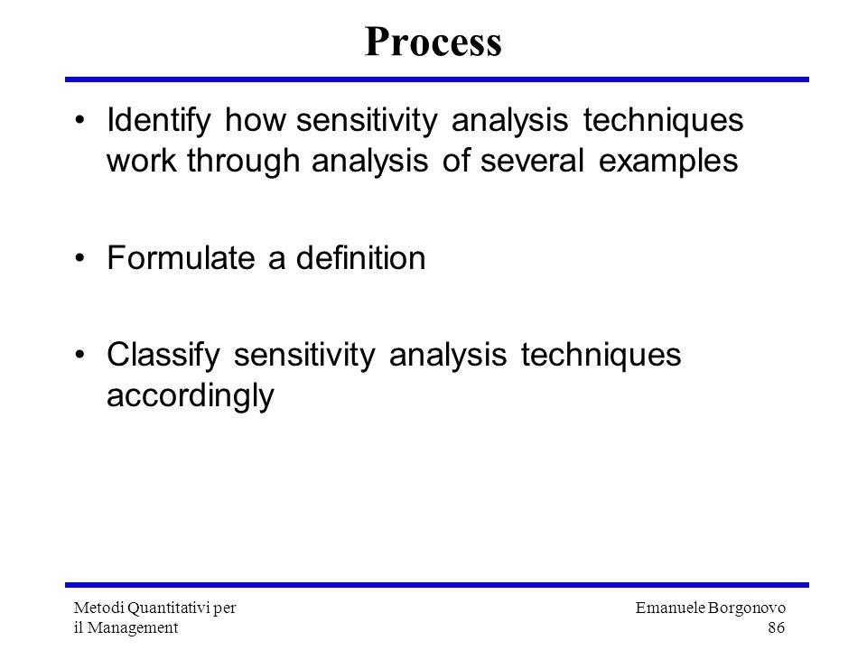 Emanuele Borgonovo 86 Metodi Quantitativi per il Management Process Identify how sensitivity analysis techniques work through analysis of several exam