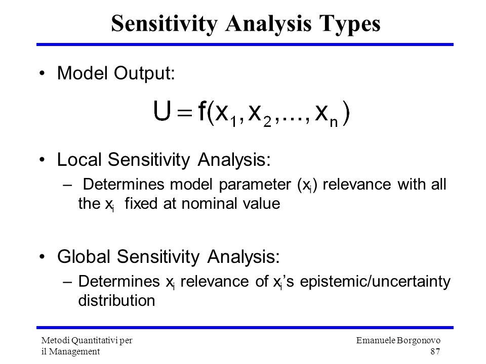 Emanuele Borgonovo 87 Metodi Quantitativi per il Management Sensitivity Analysis Types Model Output: Local Sensitivity Analysis: – Determines model pa