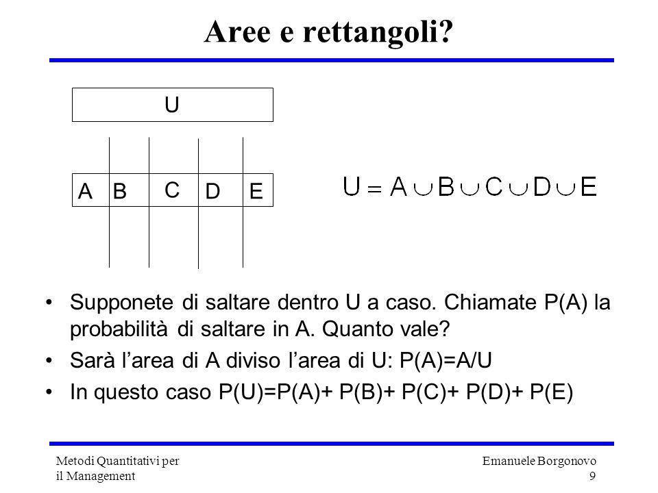 Emanuele Borgonovo 9 Metodi Quantitativi per il Management Supponete di saltare dentro U a caso. Chiamate P(A) la probabilità di saltare in A. Quanto