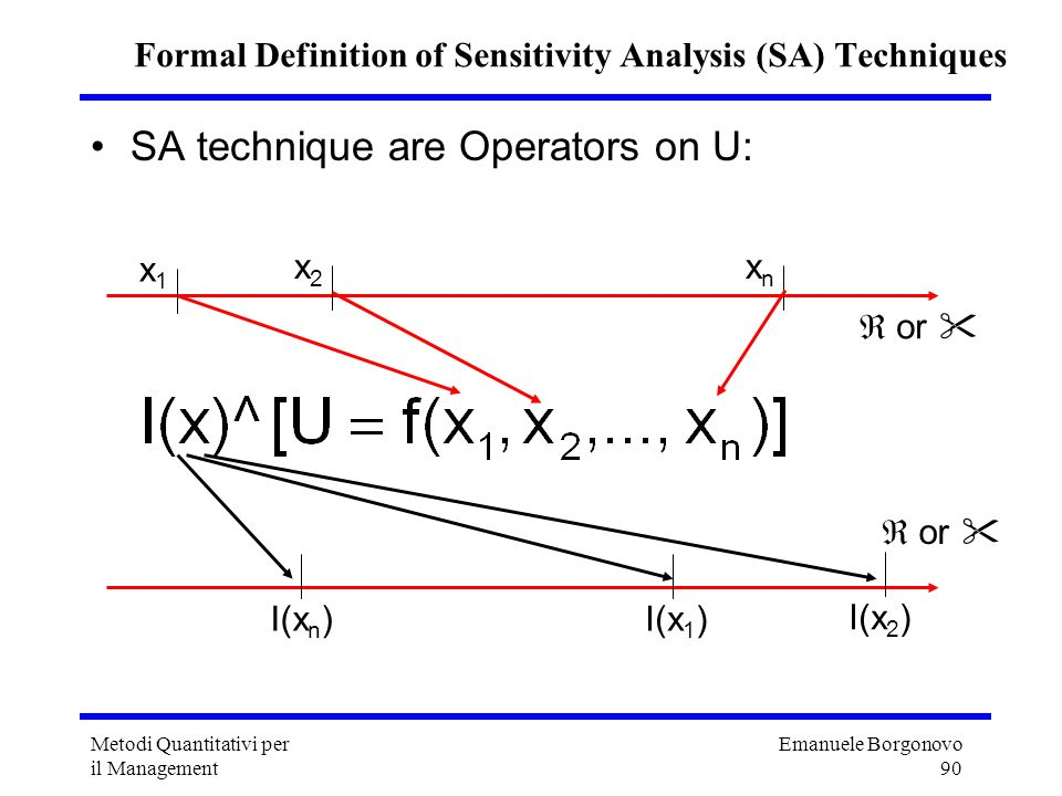 Emanuele Borgonovo 90 Metodi Quantitativi per il Management Formal Definition of Sensitivity Analysis (SA) Techniques SA technique are Operators on U: