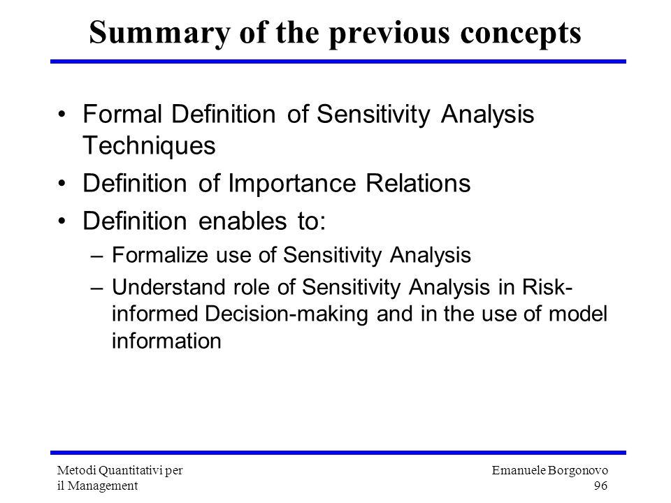Emanuele Borgonovo 96 Metodi Quantitativi per il Management Summary of the previous concepts Formal Definition of Sensitivity Analysis Techniques Defi