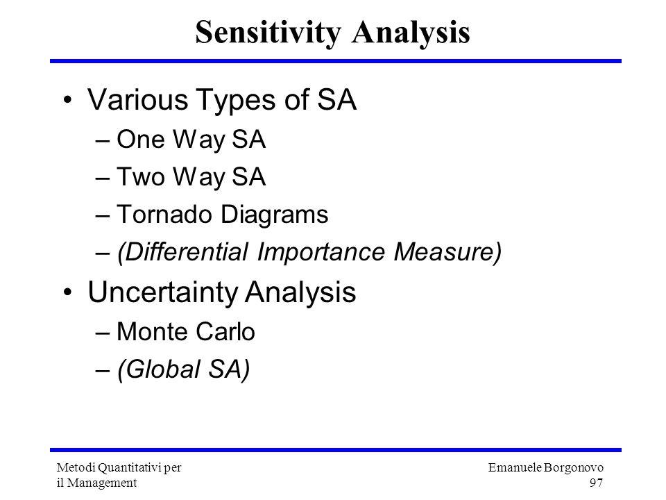 Emanuele Borgonovo 97 Metodi Quantitativi per il Management Sensitivity Analysis Various Types of SA –One Way SA –Two Way SA –Tornado Diagrams –(Diffe