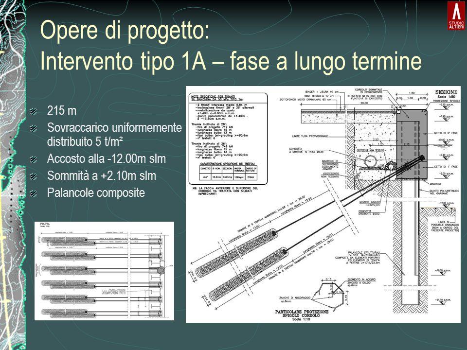 Opere di progetto: Intervento tipo 1A – fase a lungo termine 215 m Sovraccarico uniformemente distribuito 5 t/m² Accosto alla -12.00m slm Sommità a +2.10m slm Palancole composite