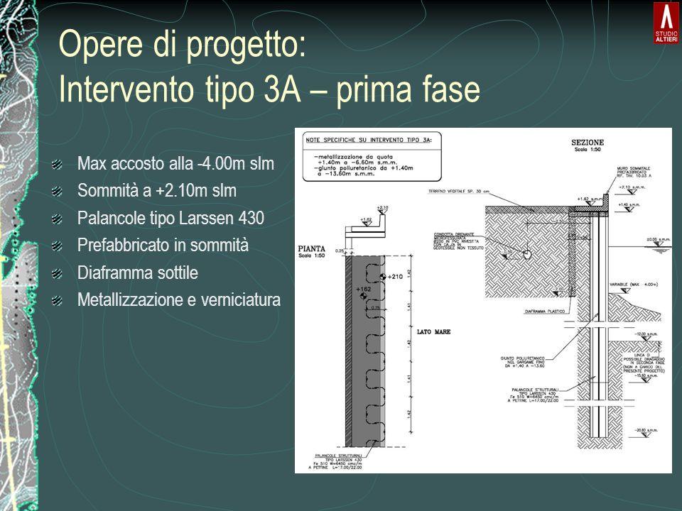 Opere di progetto: Intervento tipo 3A – prima fase Max accosto alla -4.00m slm Sommità a +2.10m slm Palancole tipo Larssen 430 Prefabbricato in sommità Diaframma sottile Metallizzazione e verniciatura