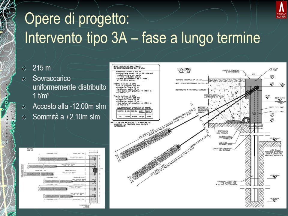Opere di progetto: Intervento tipo 3A – fase a lungo termine 215 m Sovraccarico uniformemente distribuito 1 t/m² Accosto alla -12.00m slm Sommità a +2.10m slm
