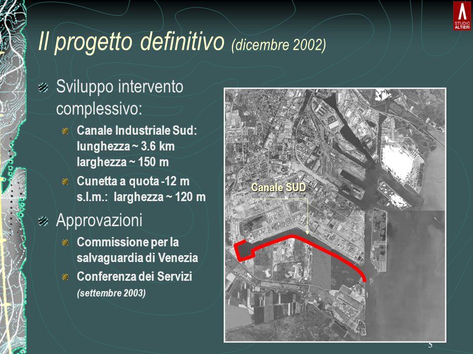 5 Il progetto definitivo (dicembre 2002) Canale SUD Sviluppo intervento complessivo: Canale Industriale Sud: lunghezza ~ 3.6 km larghezza ~ 150 m Cunetta a quota -12 m s.l.m.: larghezza ~ 120 m Approvazioni Commissione per la salvaguardia di Venezia Conferenza dei Servizi (settembre 2003)